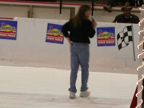 Ice racing announcer
